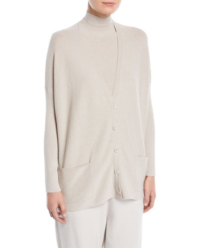 V-Neck Button-Front Cashmere-Blend Metallic-Knit Cardigan