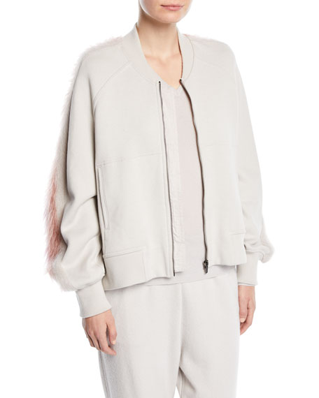 Zip-Front Cotton Jacket w/ Mohair Stripe Trim