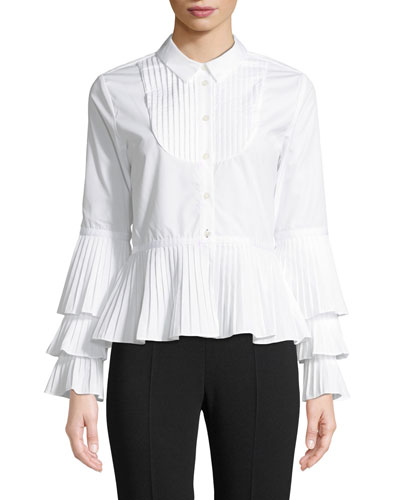 Pleated Oxford Peplum Button-Down Shirt