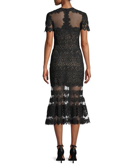 Sheer Guipure Lace Flounce Midi Dress