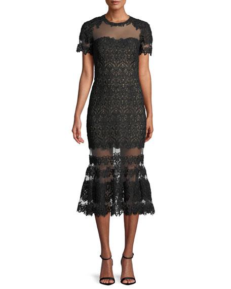 Jonathan Simkhai Sheer Guipure Lace Flounce Midi Dress