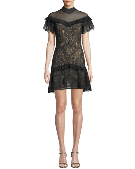 Jonathan Simkhai Mock-Neck Lace Ruffle Short Dress