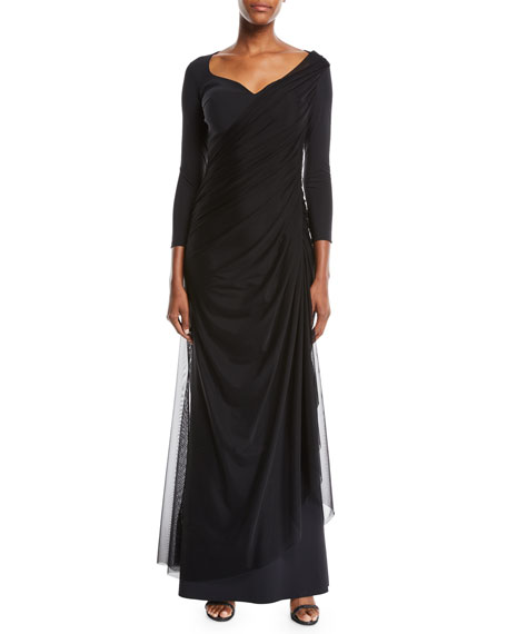 Amaia Ruched Gown w/ Tulle Overlay