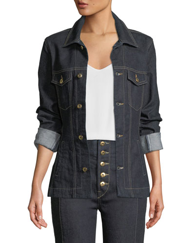 Rinsed Denim Button-Front Basque Jacket