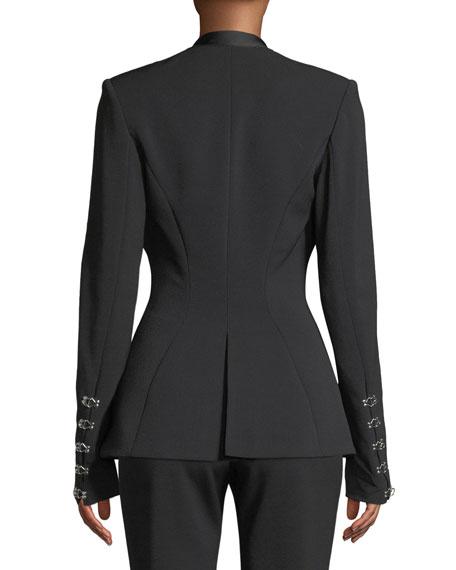 Stretch Wool Hook-Front Basque Blazer