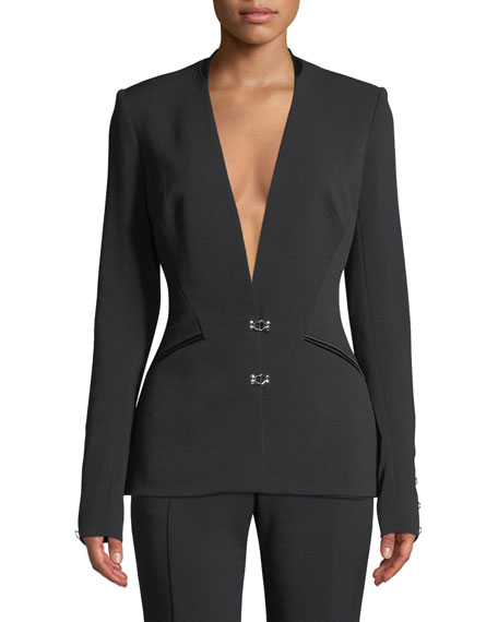 Jonathan Simkhai Stretch Wool Hook-Front Basque Blazer