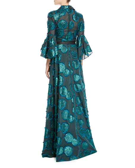 Floral Fil-Coupe Shirtwaist Gown w/ Belted Waist
