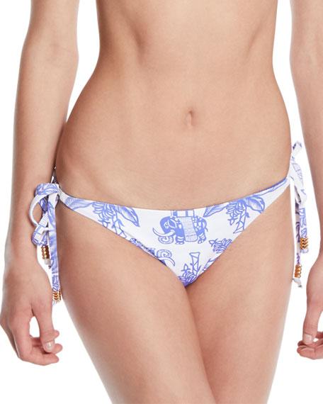 Letarte Reversible Elephant/Stripes Tie Bikini Bottom