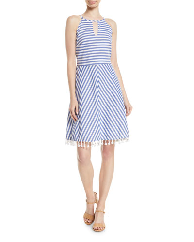 High-Neck Striped Cotton Halter Dress w/ Tassel Hem
