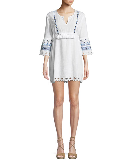 LETARTE Ocean View Embroidered Coverup Dress in White