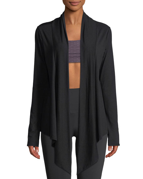 ONZIE Draped Open-Front Long-Sleeve Cardigan in Black