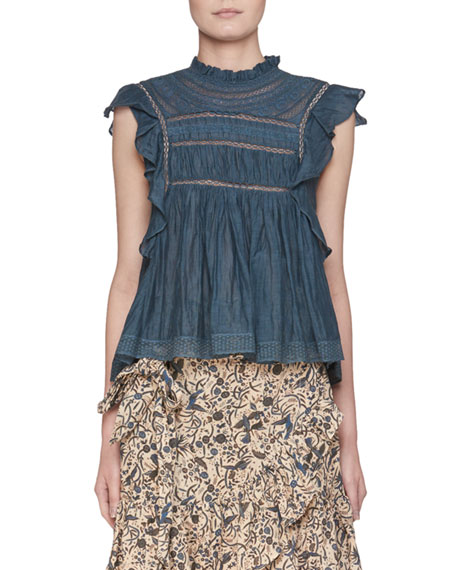 Vivia Sleeveless Cotton Blouse With Lace Trim by Etoile Isabel Marant