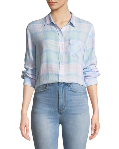 Charli Check Linen Button-Front Top