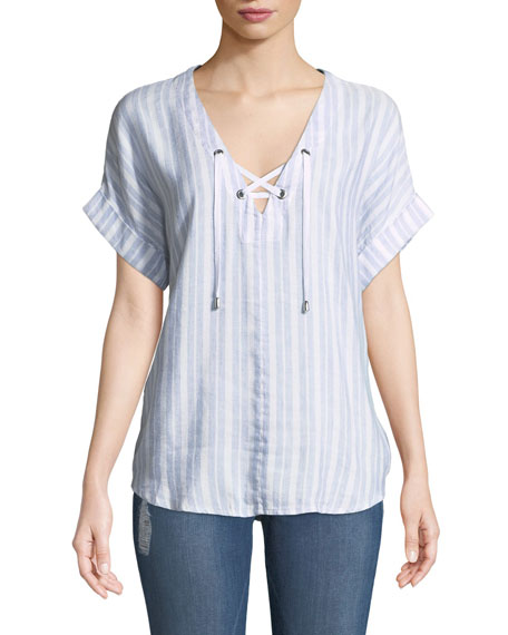 Jeri Striped Lace-Up Top