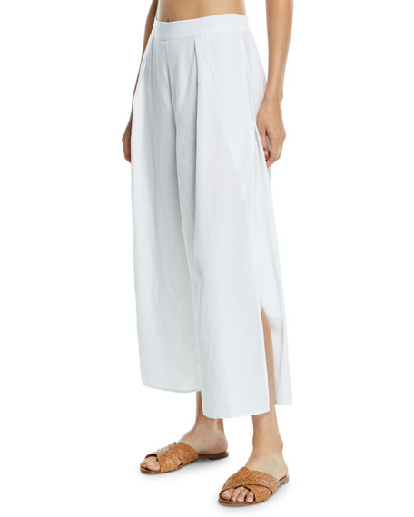 Seafolly LINEN-BLEND SPLIT-LEG COVERUP PANTS