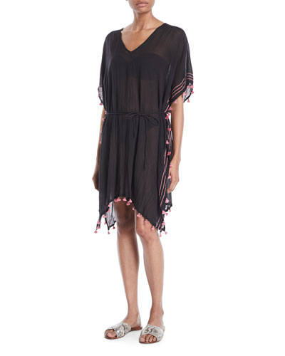 Embroidered Coverup Caftan Dress with Mini Tassels, One Size