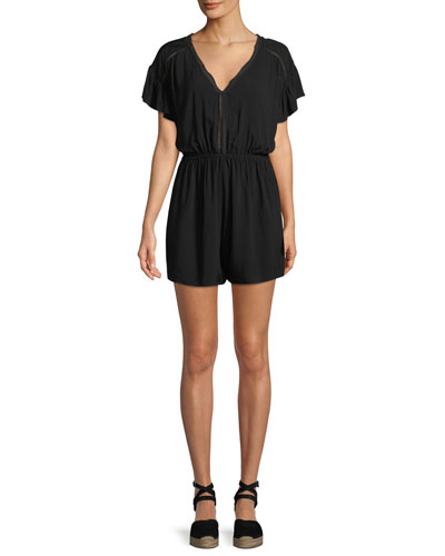 Ladder-Trim Short-Sleeve Coverup Romper