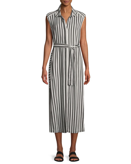 Seafolly SLEEVELESS BELTED STRIPED LONG COVERUP DRESS