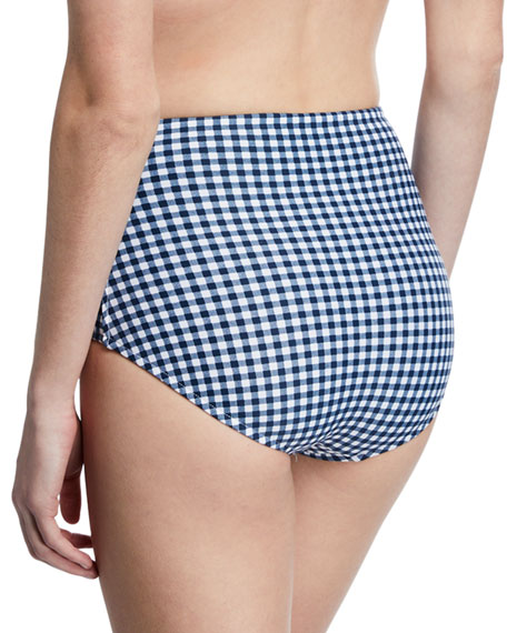 Capri Check High-Waist Bikini Bottoms