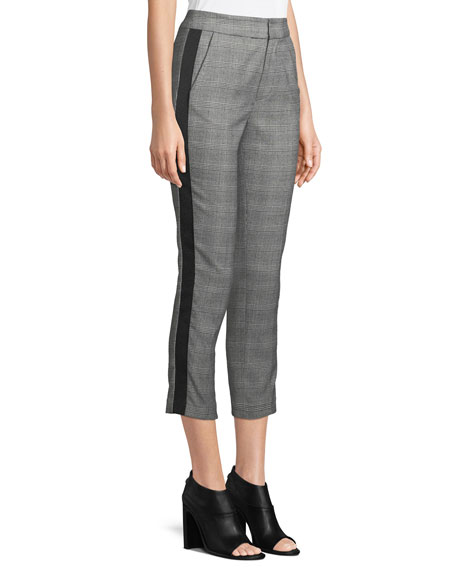 Kenadia Side-Stripe Cropped Straight-Leg Pants