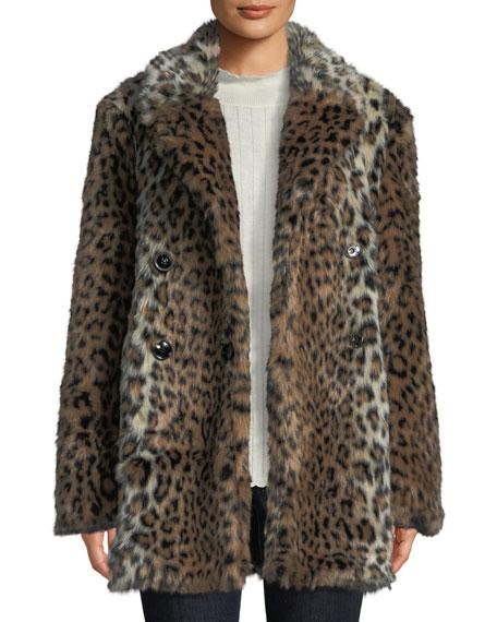 Tiaret Leopard-Print Faux-Fur Snap-Front Coat in Old Oak