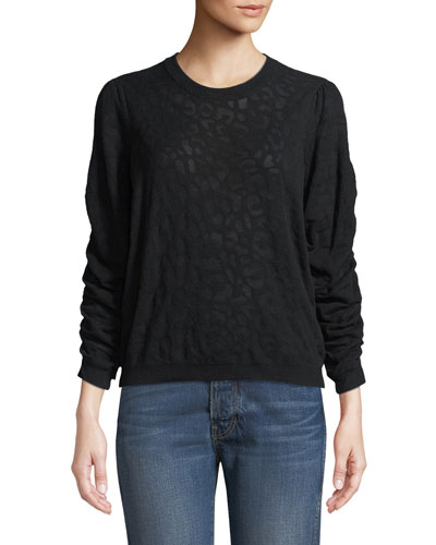 Itana Leopard Jacquard Pullover Sweater