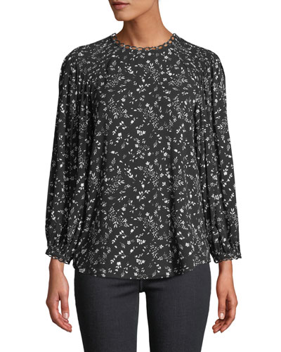 Lissane Ditsy Floral Long-Sleeve Top