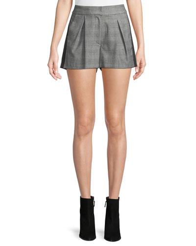 Kevlyn Pleated Side-Stripe Plaid Shorts
