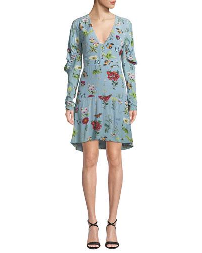 Tamarice Floral Long-Sleeve Short Dress