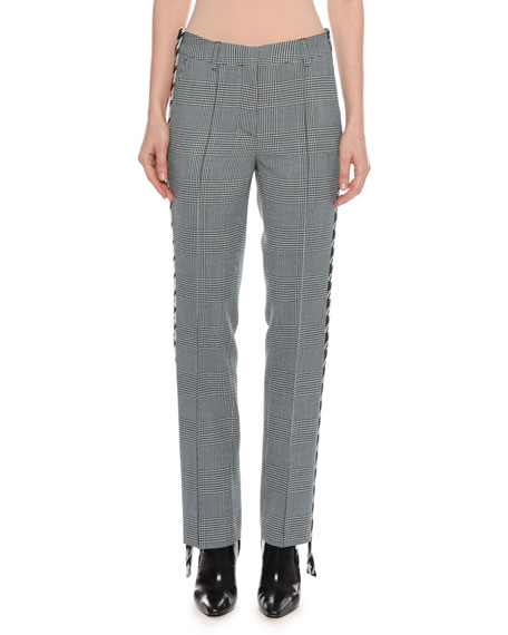 Houndstooth Plaid Side Band Cigarette-Leg Pants