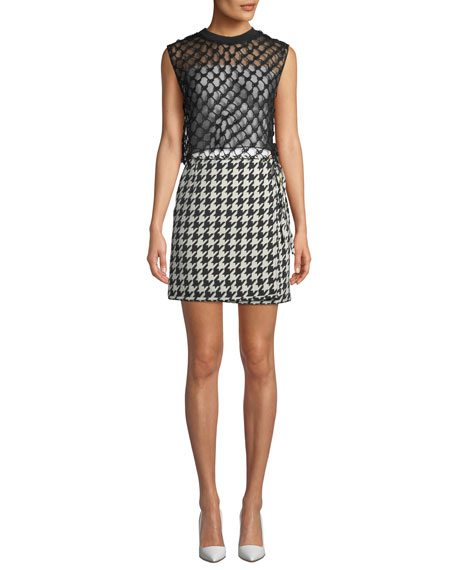 Houndstooth Mini Skirt w/ Logo Band