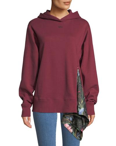 Floral-Print Drape Hooded Sweatshirt