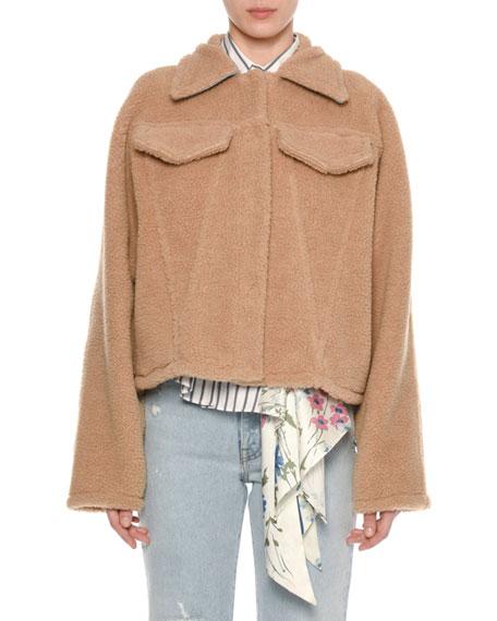 Button-Front Fleece Cotton Short Jacket