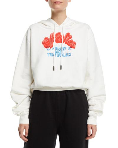 Heart Not Troubled Logo Crop Hoodie Sweatshirt