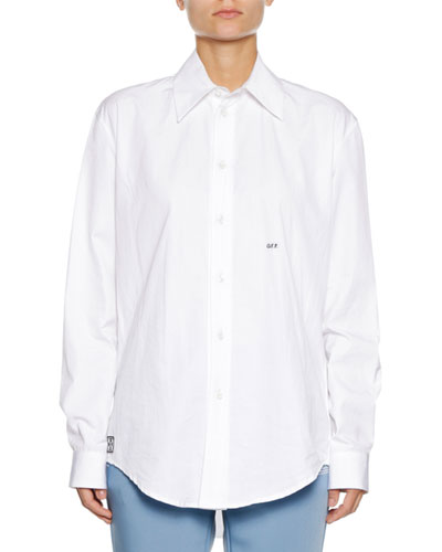 Button-Down Long-Sleeve Cotton Poplin Shirt