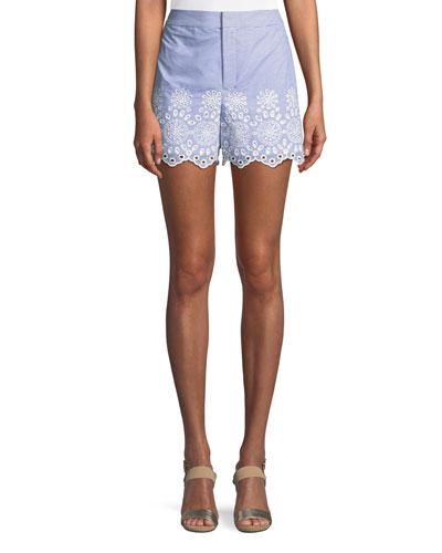 Vannah Scalloped Floral Eyelet Seersucker Shorts