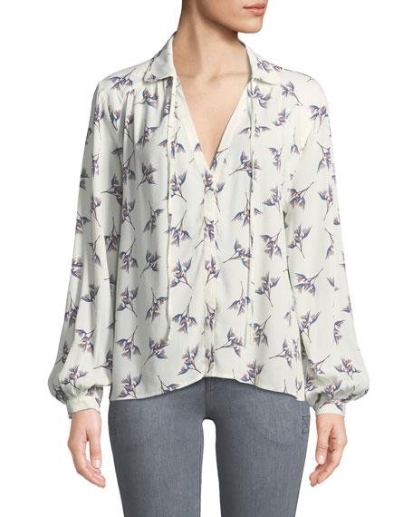 Ba&sh Fausta Floral Button-Front Blouse, ECRU