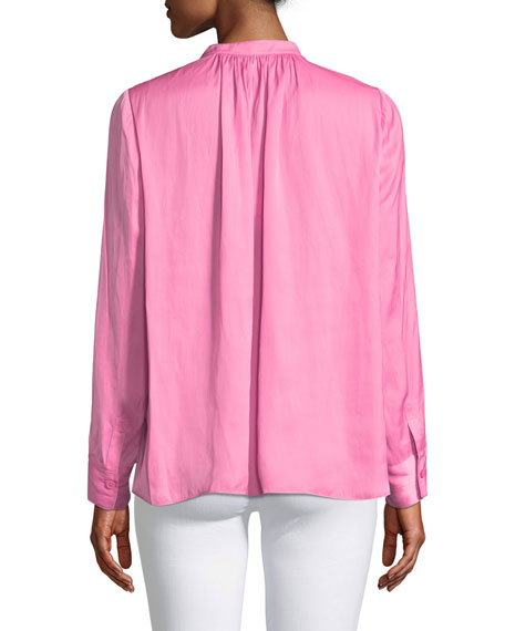 Tink Satin V-Neck Long-Sleeve Blouse