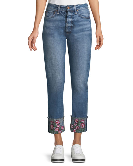 ALICE + OLIVIA JEANS Amazing Cropped Embroidered Straight