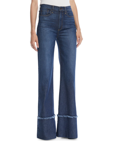 AO.LA BY ALICE + OLIVIA Gorgeous High-Rise Wide-Leg Jeans With Exaggerated Hem in So Clever