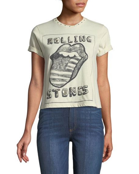 AO.LA BY ALICE + OLIVIA Berk Rolling Stones Studded Roll-Cuff Graphic Tee in White