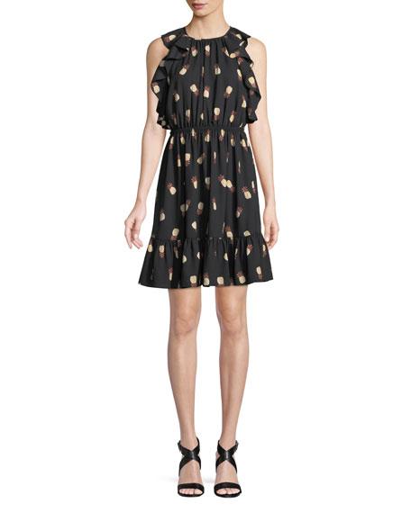 kate spade new york sleeveless pineapple-print dress