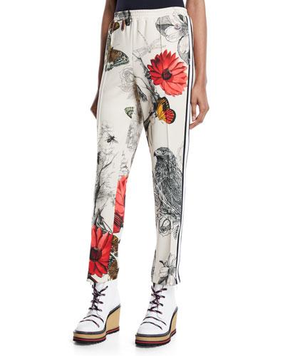 Floral & Bird Print Straight-Leg Track Pants