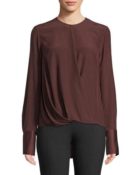 Max Long-Sleeve Silk Charmeuse Blouse