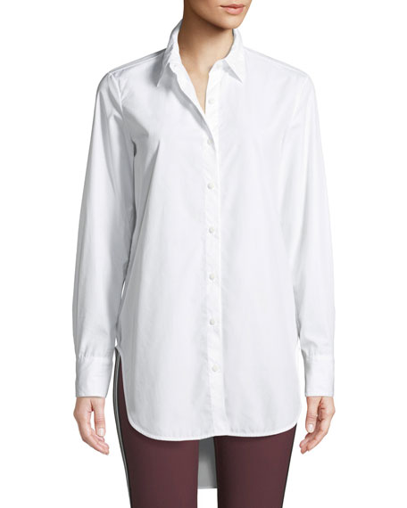 Nightingale High-Low Button-Front Shirt in White
