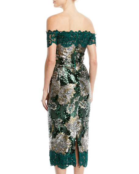 Off-the-Shoulder Sequined Peony Cocktail Dress with Guipure Lace Trim