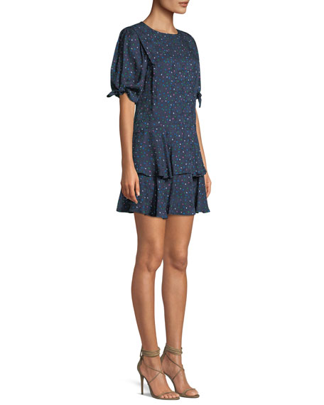 Round-Neck Short-Sleeve Speckled-Dot Silk Mini Dress