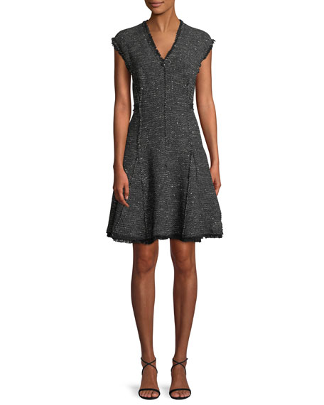 Sleeveless V-Neck Sparkle Tweed Fit-and-Flare Dress