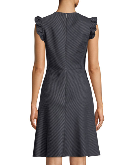 V-Neck Sleeveless Striped Linen-Blend A-Line Dress