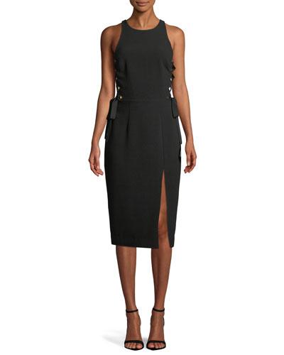 Laced In Sleeveless Split Midi Dress